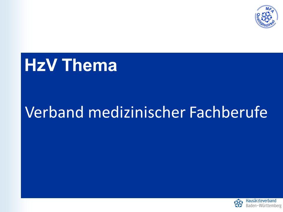 HzV Thema Verband medizinischer Fachberufe
