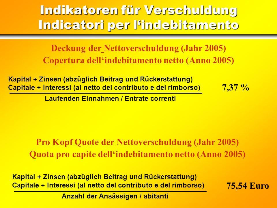 Verschuldung ab dem 01/01/2005 Indebitamento dal 01/01/2005 Darlehen (Rückzahlung von Kapital und Zinsen) Mutui (Restituzione capitale ed interessi) 6