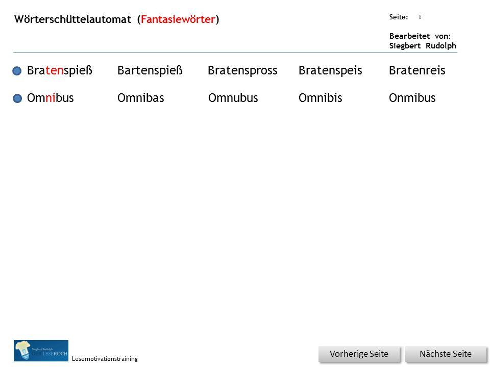 Übungsart: Seite: Bearbeitet von: Siegbert Rudolph Lesemotivationstraining Wörterschüttelautomat (Fantasiewörter) 8 BratenspießBartenspießBratenspross