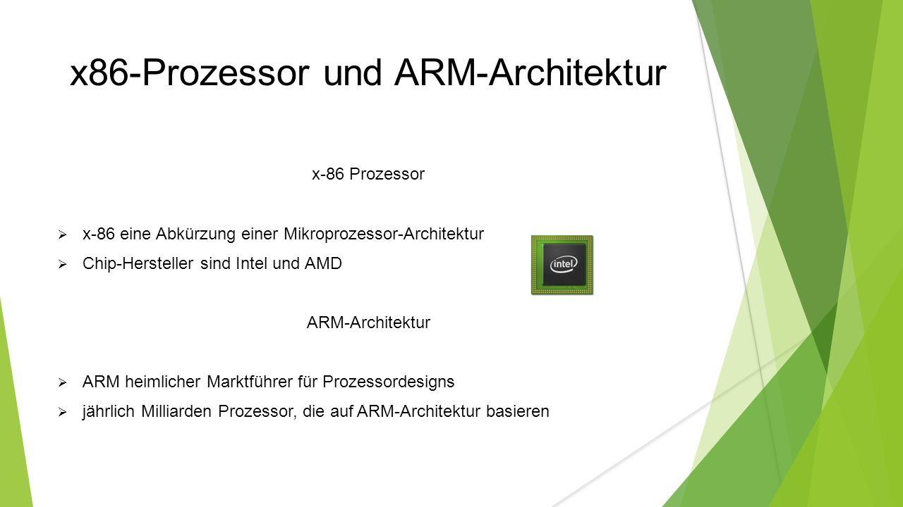x86-Prozessor und ARM-Architektur x-86 Prozessor  x-86 eine Abkürzung einer Mikroprozessor-Architektur  Chip-Hersteller sind Intel und AMD ARM-Architektur  ARM heimlicher Marktführer für Prozessordesigns  jährlich Milliarden Prozessor, die auf ARM-Architektur basieren