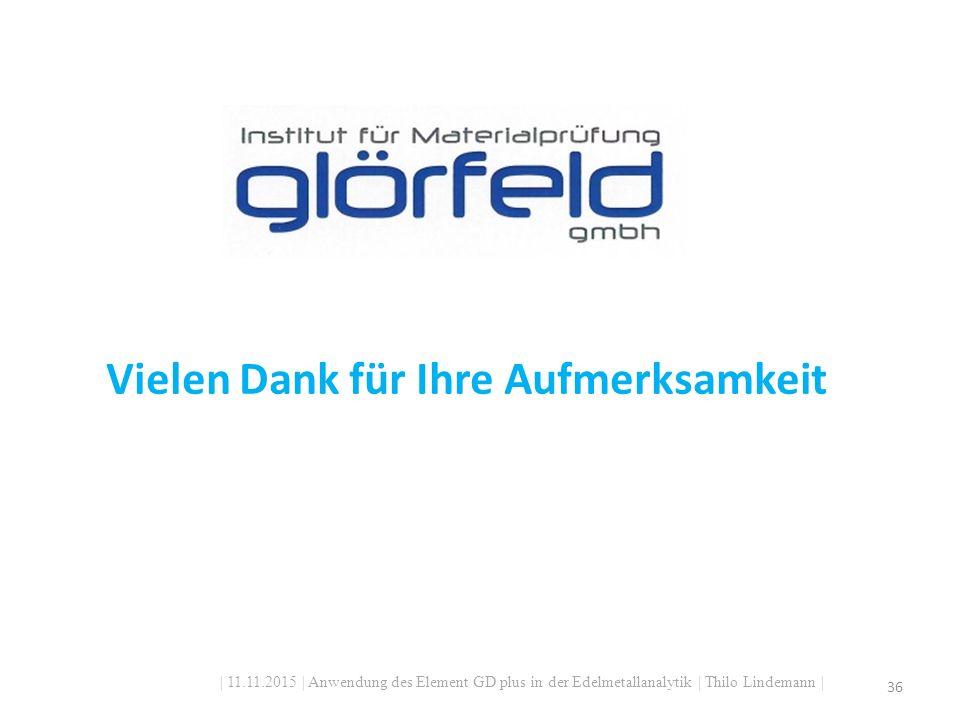| 11.11.2015 | Anwendung des Element GD plus in der Edelmetallanalytik | Thilo Lindemann | 36 Vielen Dank für Ihre Aufmerksamkeit