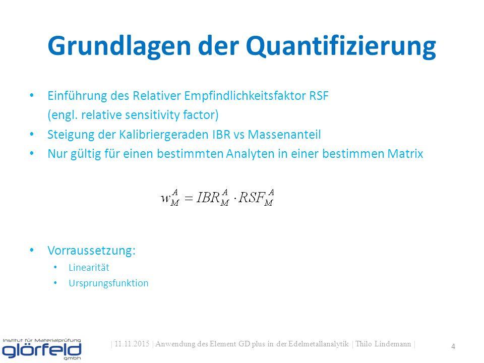 Grundlagen der Quantifizierung | 11.11.2015 | Anwendung des Element GD plus in der Edelmetallanalytik | Thilo Lindemann | 4 Einführung des Relativer Empfindlichkeitsfaktor RSF (engl.