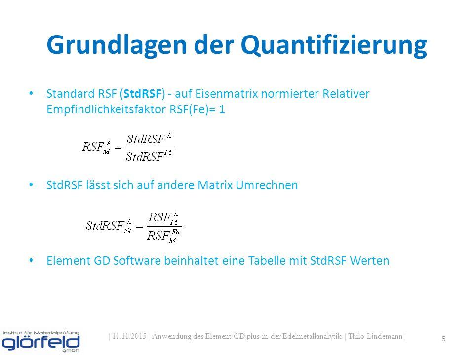 Grundlagen der Quantifizierung | 11.11.2015 | Anwendung des Element GD plus in der Edelmetallanalytik | Thilo Lindemann | 5 Standard RSF (StdRSF) - auf Eisenmatrix normierter Relativer Empfindlichkeitsfaktor RSF(Fe)= 1 StdRSF lässt sich auf andere Matrix Umrechnen Element GD Software beinhaltet eine Tabelle mit StdRSF Werten