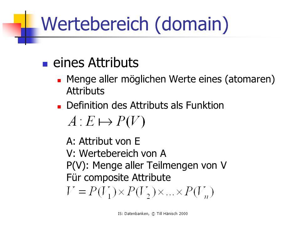 IS: Datenbanken, © Till Hänisch 2000 eines Attributs Menge aller möglichen Werte eines (atomaren) Attributs Definition des Attributs als Funktion A: A