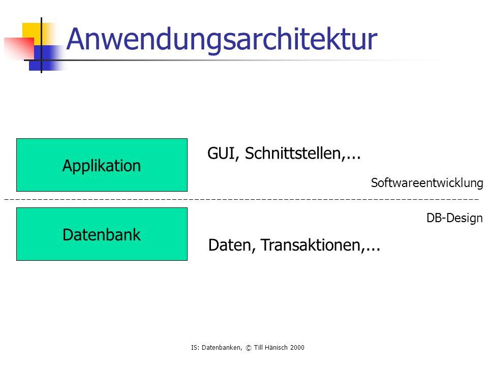 IS: Datenbanken, © Till Hänisch 2000 Anwendungsarchitektur Applikation Datenbank GUI, Schnittstellen,... Daten, Transaktionen,... Softwareentwicklung