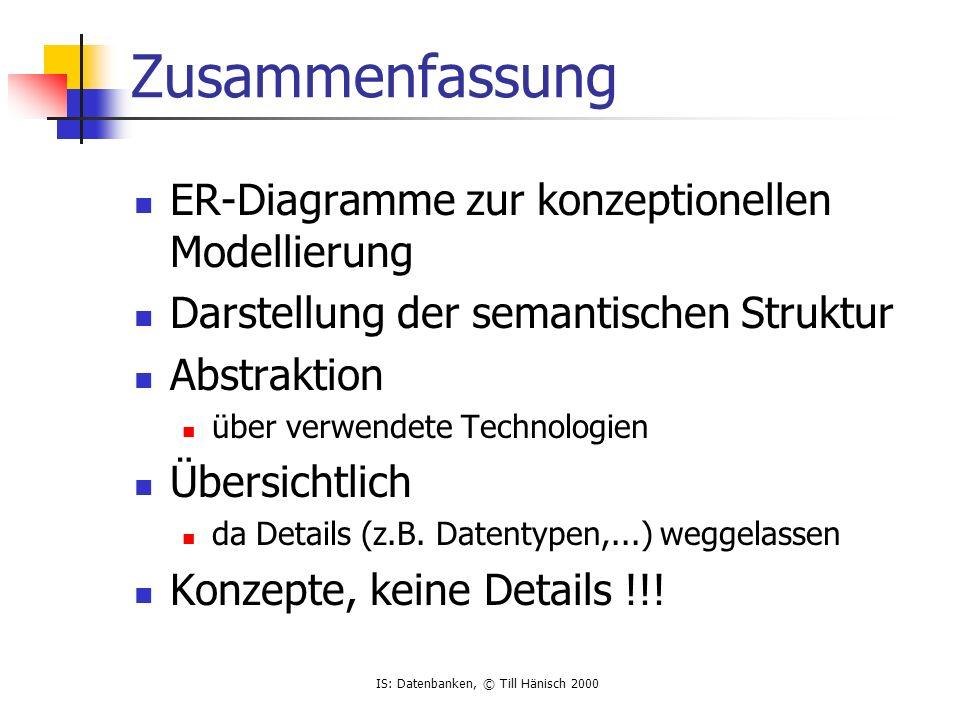 IS: Datenbanken, © Till Hänisch 2000 Zusammenfassung ER-Diagramme zur konzeptionellen Modellierung Darstellung der semantischen Struktur Abstraktion ü