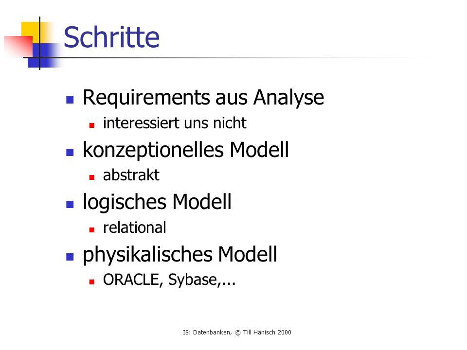 IS: Datenbanken, © Till Hänisch 2000 Schritte Requirements aus Analyse interessiert uns nicht konzeptionelles Modell abstrakt logisches Modell relatio