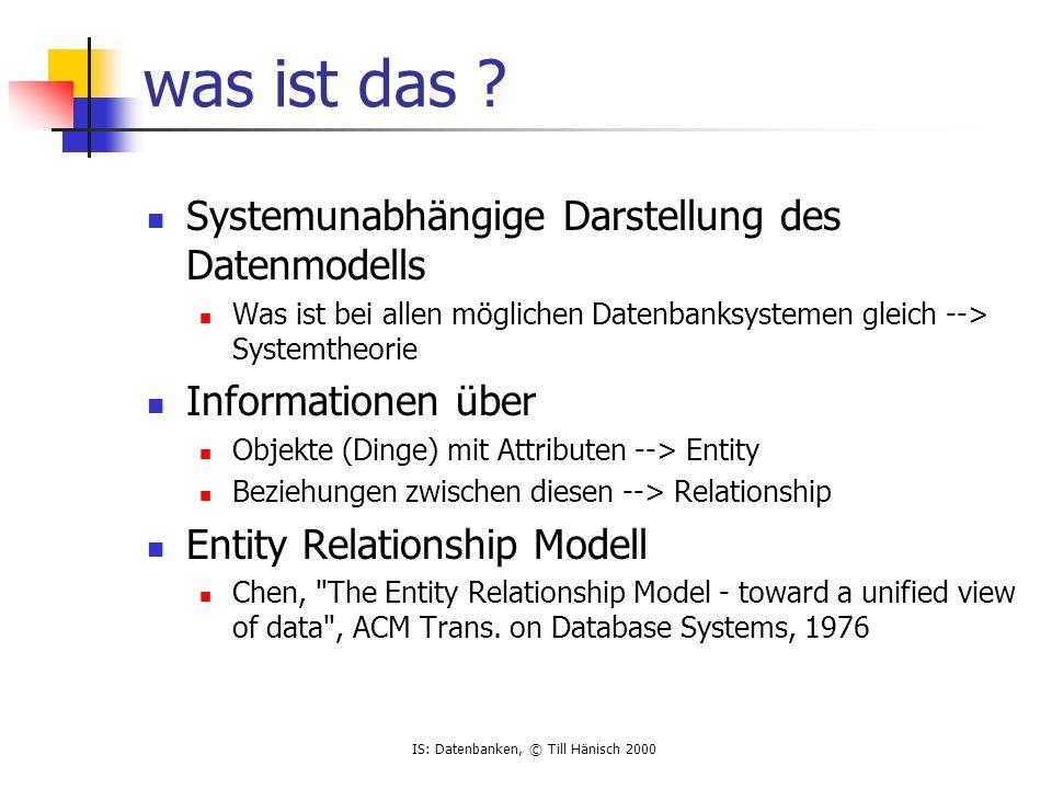 IS: Datenbanken, © Till Hänisch 2000 ERD - diverses Kardinalitäten unpraktisch zwei Mechanismen (Kardinalität, total/partial participation) für die gleiche Sache (min,max) Notation partial participation (0,...) total participation (1,...) Erweiterungen z.