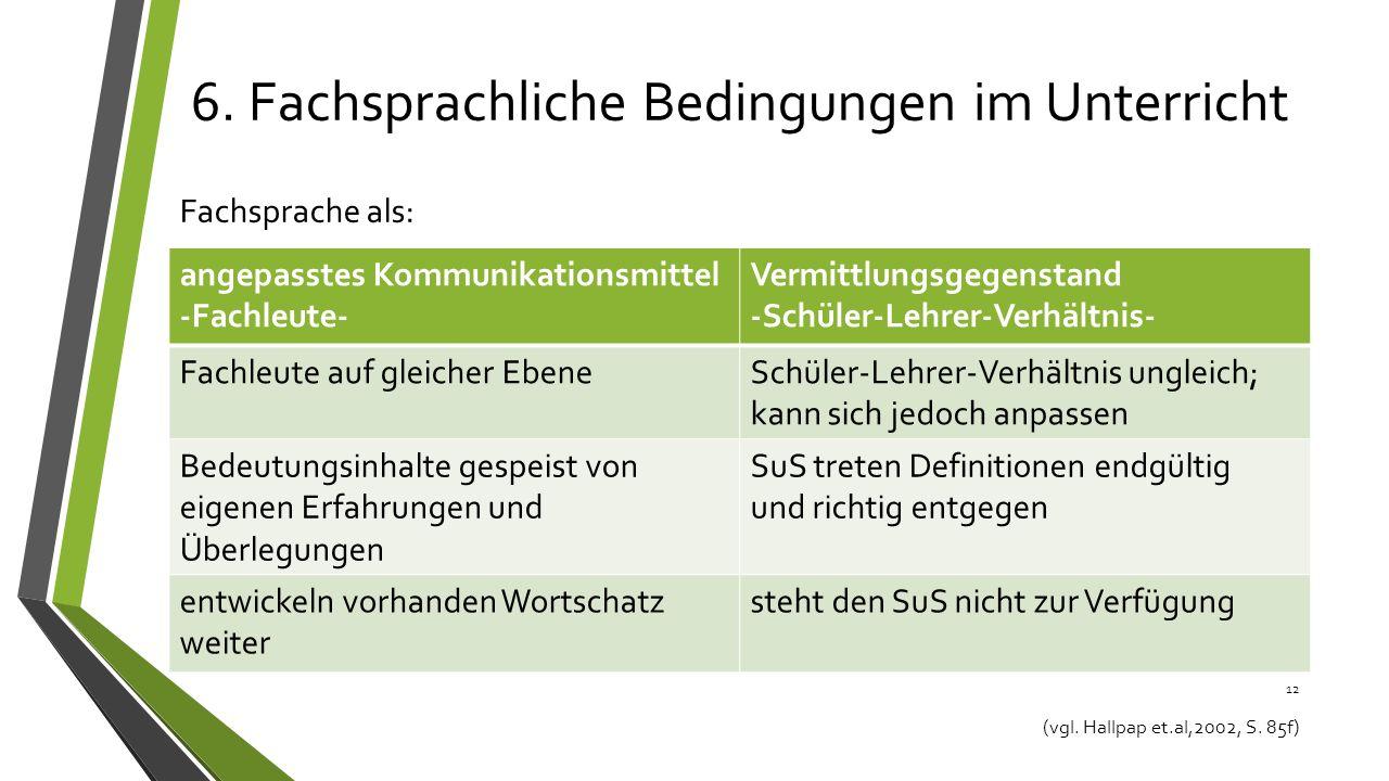6.Fachsprachliche Bedingungen im Unterricht Fachsprache als: 12 (vgl.