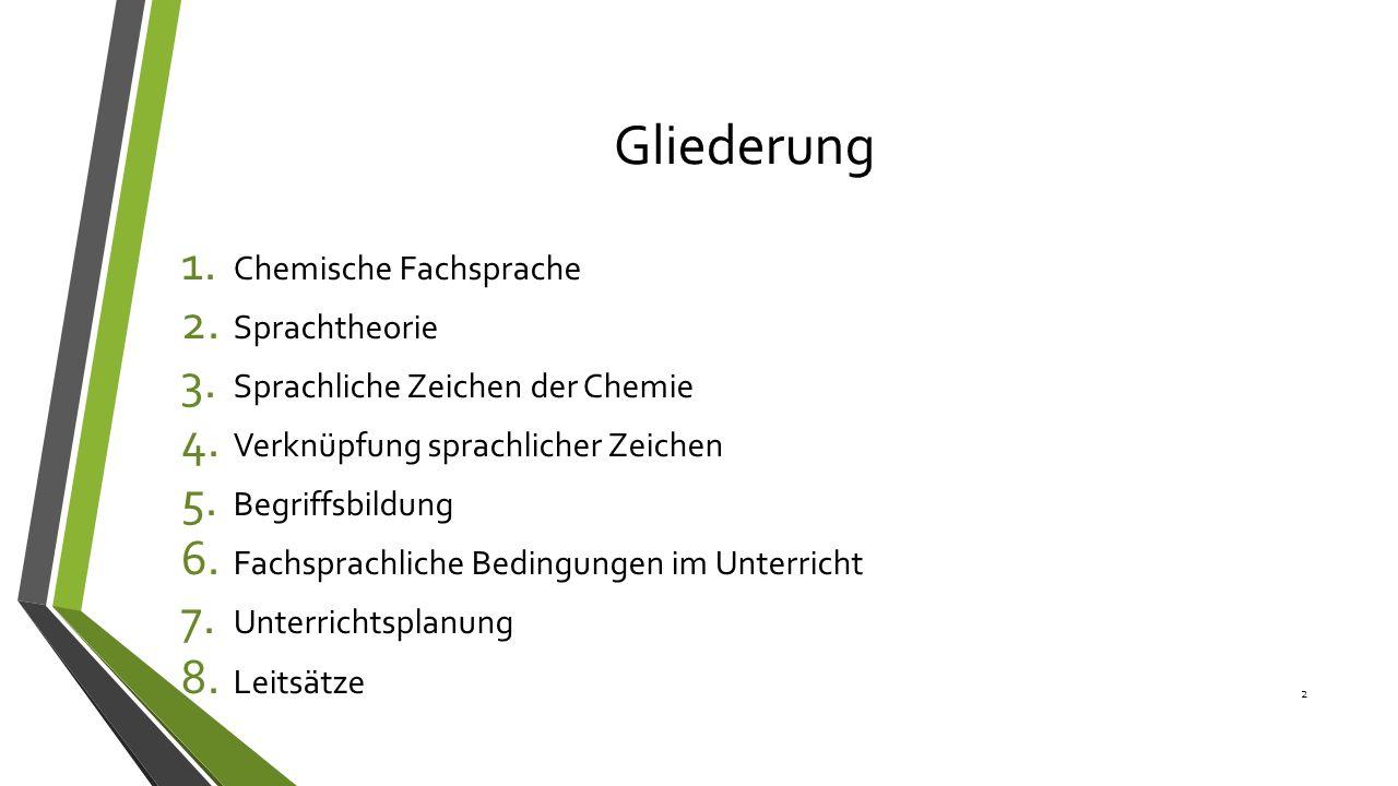Gliederung 1. Chemische Fachsprache 2. Sprachtheorie 3. Sprachliche Zeichen der Chemie 4. Verknüpfung sprachlicher Zeichen 5. Begriffsbildung 6. Fachs