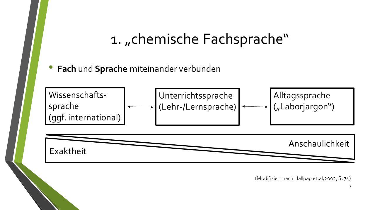 """1. """"chemische Fachsprache"""" Fach und Sprache miteinander verbunden 3 (Modifiziert nach Hallpap et.al,2002, S. 74) Wissenschafts- sprache (ggf. internat"""