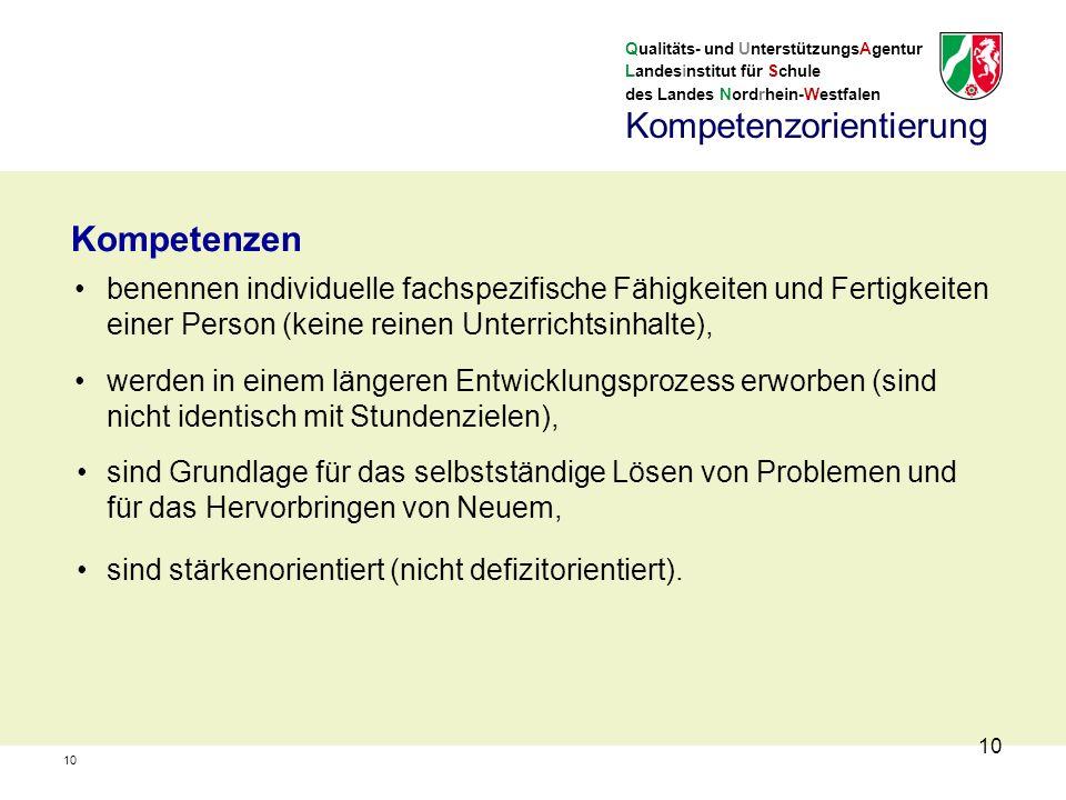 Qualitäts- und UnterstützungsAgentur Landesinstitut für Schule des Landes Nordrhein-Westfalen 10 benennen individuelle fachspezifische Fähigkeiten und Fertigkeiten einer Person (keine reinen Unterrichtsinhalte), Kompetenzen werden in einem längeren Entwicklungsprozess erworben (sind nicht identisch mit Stundenzielen), sind Grundlage für das selbstständige Lösen von Problemen und für das Hervorbringen von Neuem, sind stärkenorientiert (nicht defizitorientiert).