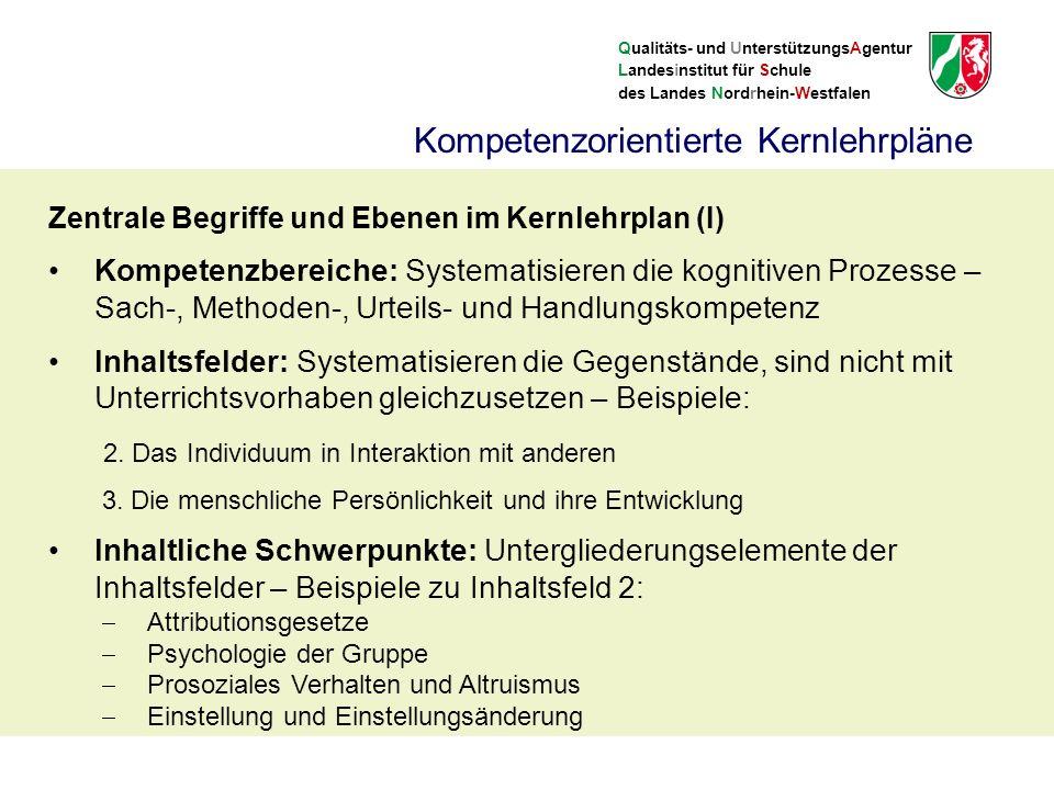 Qualitäts- und UnterstützungsAgentur Landesinstitut für Schule des Landes Nordrhein-Westfalen Kompetenzorientierte Kernlehrpläne Zentrale Begriffe und Ebenen im Kernlehrplan (I) Kompetenzbereiche: Systematisieren die kognitiven Prozesse – Sach-, Methoden-, Urteils- und Handlungskompetenz Inhaltsfelder: Systematisieren die Gegenstände, sind nicht mit Unterrichtsvorhaben gleichzusetzen – Beispiele: 2.