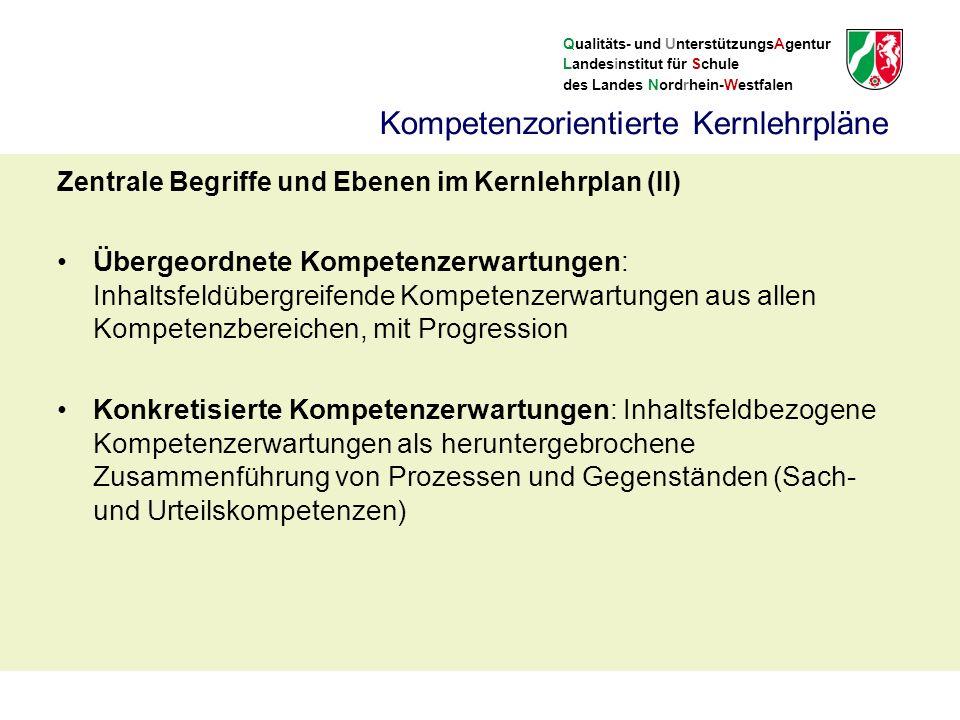 Qualitäts- und UnterstützungsAgentur Landesinstitut für Schule des Landes Nordrhein-Westfalen Zentrale Begriffe und Ebenen im Kernlehrplan (II) Übergeordnete Kompetenzerwartungen: Inhaltsfeldübergreifende Kompetenzerwartungen aus allen Kompetenzbereichen, mit Progression Konkretisierte Kompetenzerwartungen: Inhaltsfeldbezogene Kompetenzerwartungen als heruntergebrochene Zusammenführung von Prozessen und Gegenständen (Sach- und Urteilskompetenzen) Kompetenzorientierte Kernlehrpläne