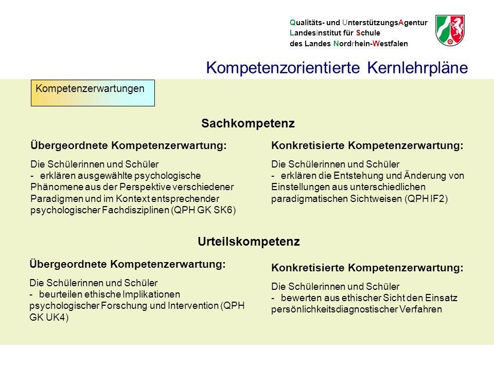 Qualitäts- und UnterstützungsAgentur Landesinstitut für Schule des Landes Nordrhein-Westfalen Sachkompetenz Übergeordnete Kompetenzerwartung: Die Schülerinnen und Schüler -erklären ausgewählte psychologische Phänomene aus der Perspektive verschiedener Paradigmen und im Kontext entsprechender psychologischer Fachdisziplinen (QPH GK SK6) Konkretisierte Kompetenzerwartung: Die Schülerinnen und Schüler -erklären die Entstehung und Änderung von Einstellungen aus unterschiedlichen paradigmatischen Sichtweisen (QPH IF2) Urteilskompetenz Übergeordnete Kompetenzerwartung: Die Schülerinnen und Schüler -beurteilen ethische Implikationen psychologischer Forschung und Intervention (QPH GK UK4) Konkretisierte Kompetenzerwartung: Die Schülerinnen und Schüler -bewerten aus ethischer Sicht den Einsatz persönlichkeitsdiagnostischer Verfahren Kompetenzorientierte Kernlehrpläne Kompetenzerwartungen
