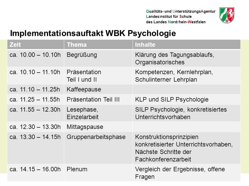 Qualitäts- und UnterstützungsAgentur Landesinstitut für Schule des Landes Nordrhein-Westfalen Implementationsauftakt WBK Psychologie ZeitThemaInhalte ca.