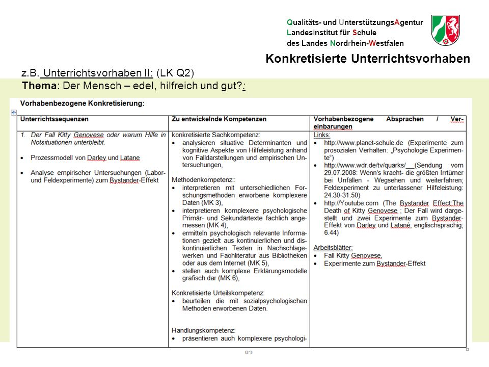 Qualitäts- und UnterstützungsAgentur Landesinstitut für Schule des Landes Nordrhein-Westfalen 23 Konkretisierte Unterrichtsvorhaben z.B.