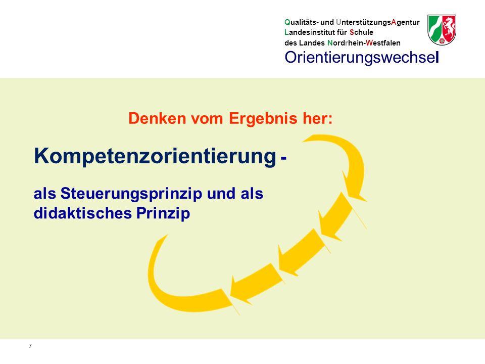 Qualitäts- und UnterstützungsAgentur Landesinstitut für Schule des Landes Nordrhein-Westfalen 77 als Steuerungsprinzip und als didaktisches Prinzip Kompetenzorientierung - Orientierungswechsel Denken vom Ergebnis her: