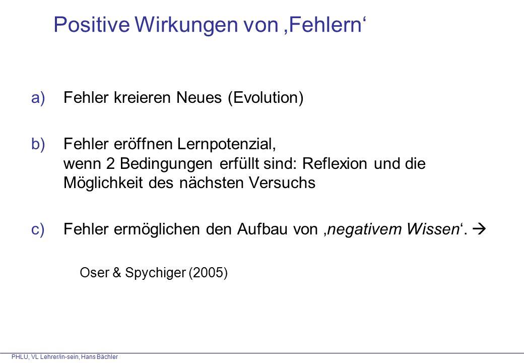 PHLU, VL Lehrer/in-sein, Hans Bächler Positive Wirkungen von 'Fehlern' a)Fehler kreieren Neues (Evolution) b)Fehler eröffnen Lernpotenzial, wenn 2 Bedingungen erfüllt sind: Reflexion und die Möglichkeit des nächsten Versuchs c)Fehler ermöglichen den Aufbau von 'negativem Wissen'.