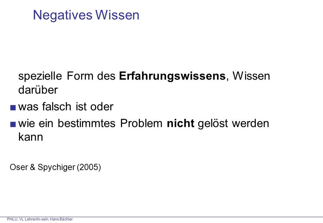 spezielle Form des Erfahrungswissens, Wissen darüber ■was falsch ist oder ■wie ein bestimmtes Problem nicht gelöst werden kann Oser & Spychiger (2005) Negatives Wissen