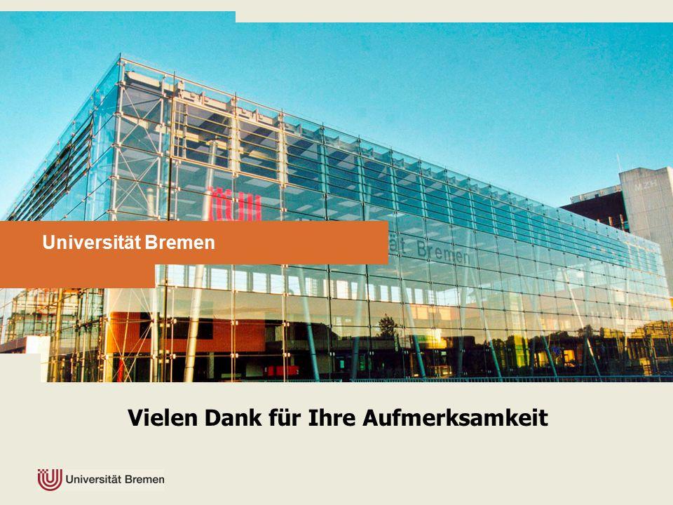 Universität Bremen Vielen Dank für Ihre Aufmerksamkeit