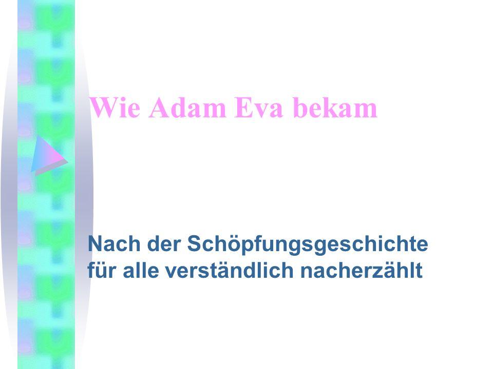 Wie Adam Eva bekam Nach der Schöpfungsgeschichte für alle verständlich nacherzählt