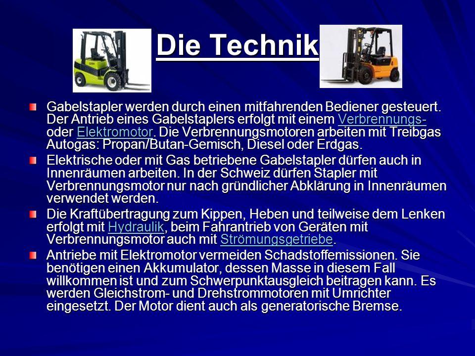 Die Technik Gabelstapler werden durch einen mitfahrenden Bediener gesteuert.