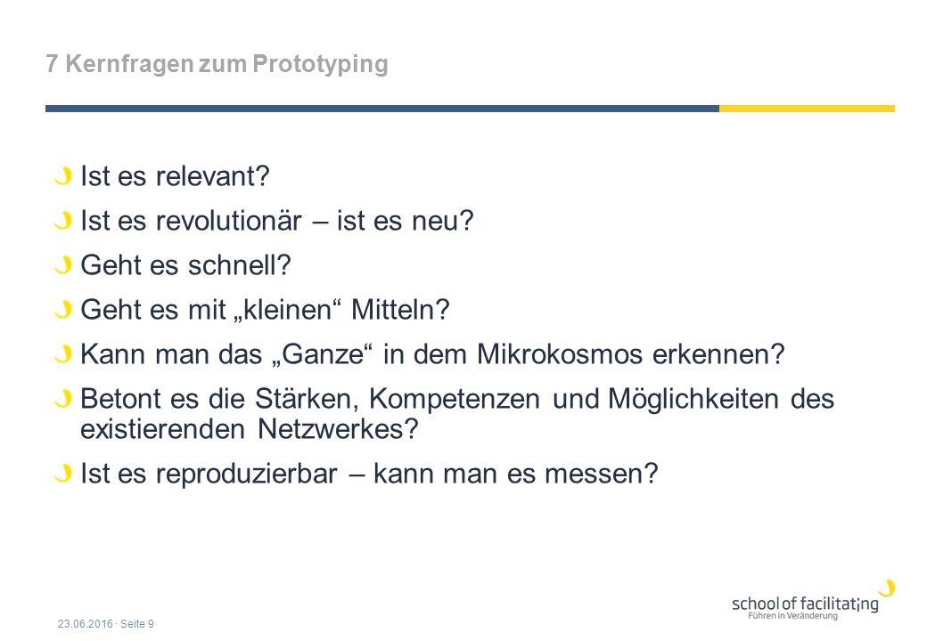 """7 Kernfragen zum Prototyping Ist es relevant? Ist es revolutionär – ist es neu? Geht es schnell? Geht es mit """"kleinen"""" Mitteln? Kann man das """"Ganze"""" i"""