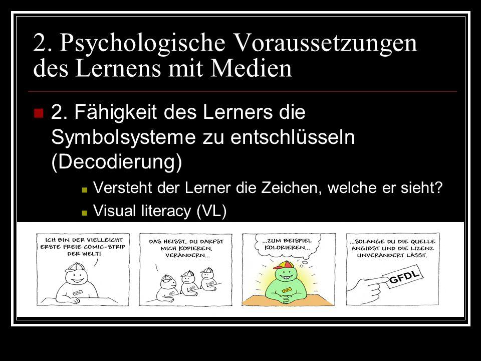 2.Psychologische Voraussetzungen des Lernens mit Medien 3.