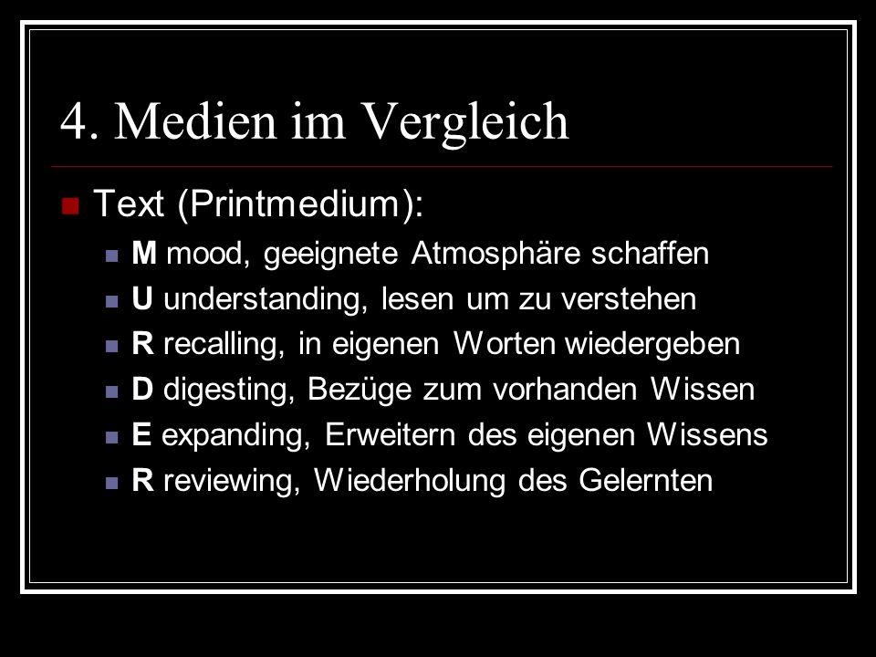 4. Medien im Vergleich Text (Printmedium): M mood, geeignete Atmosphäre schaffen U understanding, lesen um zu verstehen R recalling, in eigenen Worten