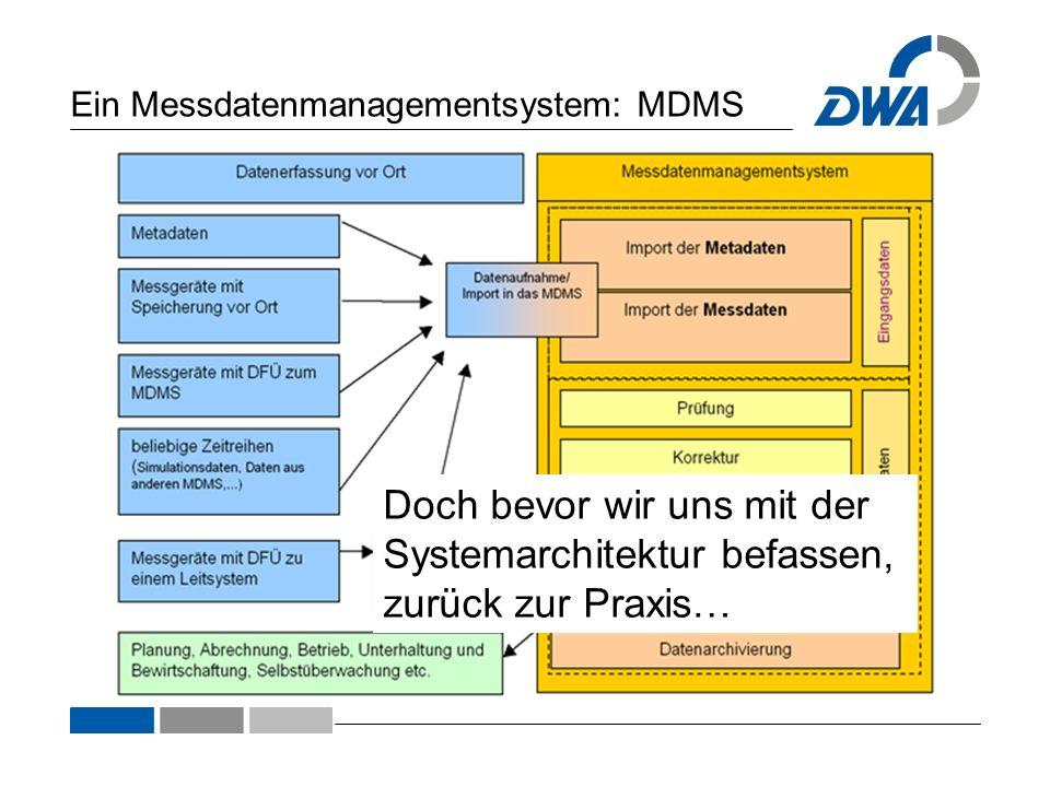 Doch bevor wir uns mit der Systemarchitektur befassen, zurück zur Praxis… Ein Messdatenmanagementsystem: MDMS