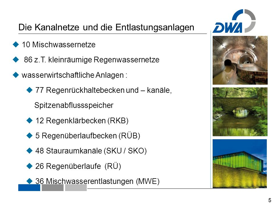 Die Kanalnetze und die Entlastungsanlagen 5  10 Mischwassernetze  86 z.T.