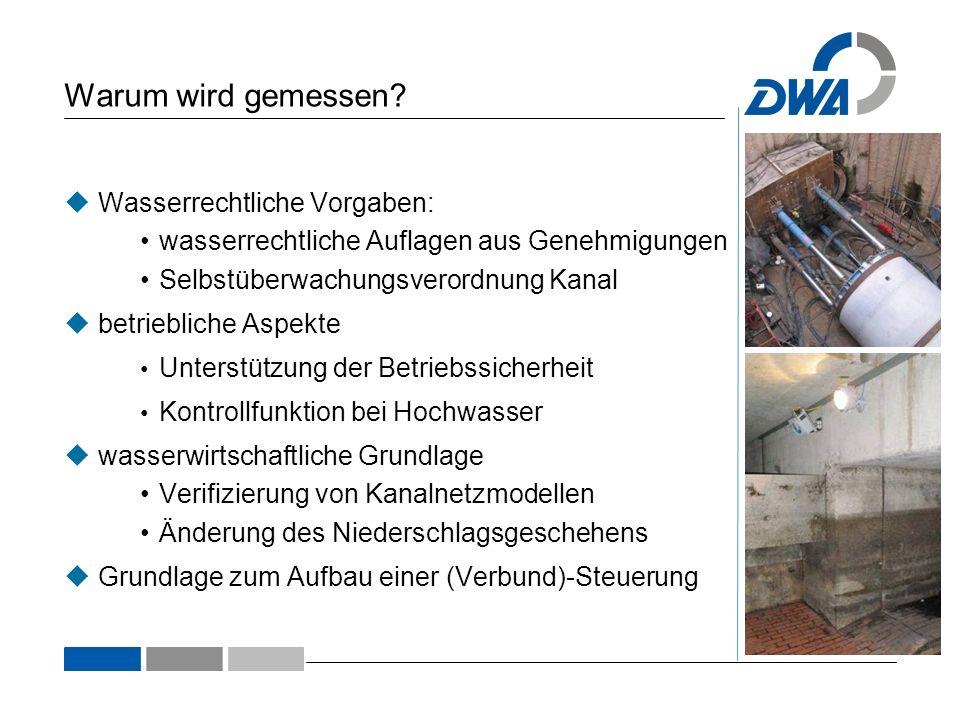 Die Messeinrichtungen Angebundene Bauwerke201020122013 (Prognose) Pumpanlagen384257 Entlastungsbauwerke378390 Schieber265400430 Regenmesser23 Höhenstandsmessungen650840900 Qualitätsmessungen026