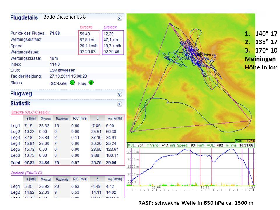 Bodo Diesener LS 8 1.140° 17 2.135° 17 3.170° 10 Meiningen Höhe in km RASP: schwache Welle in 850 hPa ca. 1500 m