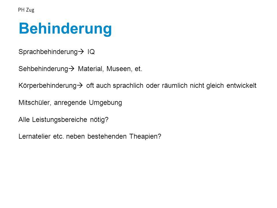 Behinderung Sprachbehinderung  IQ Sehbehinderung  Material, Museen, et.