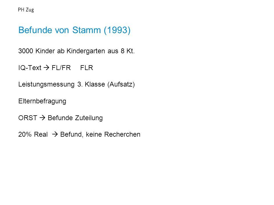 Befunde von Stamm (1993) 3000 Kinder ab Kindergarten aus 8 Kt.