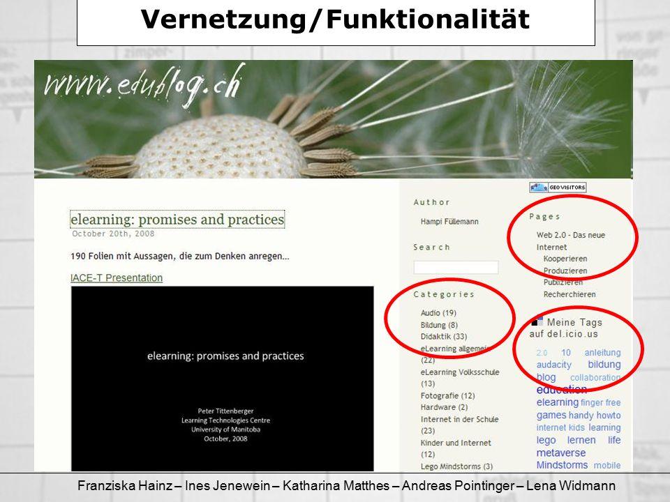 Franziska Hainz – Ines Jenewein – Katharina Matthes – Andreas Pointinger – Lena Widmann Vernetzung/Funktionalität