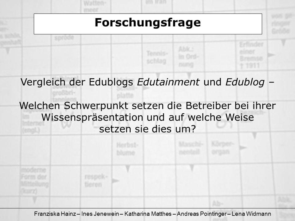 Franziska Hainz – Ines Jenewein – Katharina Matthes – Andreas Pointinger – Lena Widmann Forschungsfrage Vergleich der Edublogs Edutainment und Edublog