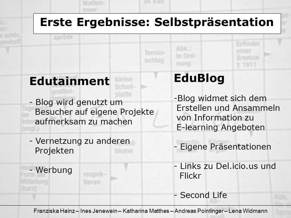 Franziska Hainz – Ines Jenewein – Katharina Matthes – Andreas Pointinger – Lena Widmann Erste Ergebnisse: Selbstpräsentation Edutainment - Blog wird g