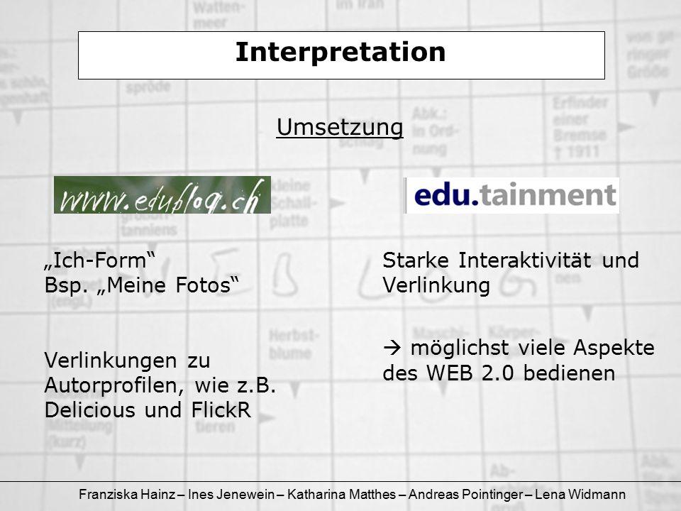 """Franziska Hainz – Ines Jenewein – Katharina Matthes – Andreas Pointinger – Lena Widmann Interpretation Umsetzung """"Ich-Form"""" Bsp. """"Meine Fotos"""" Verlink"""
