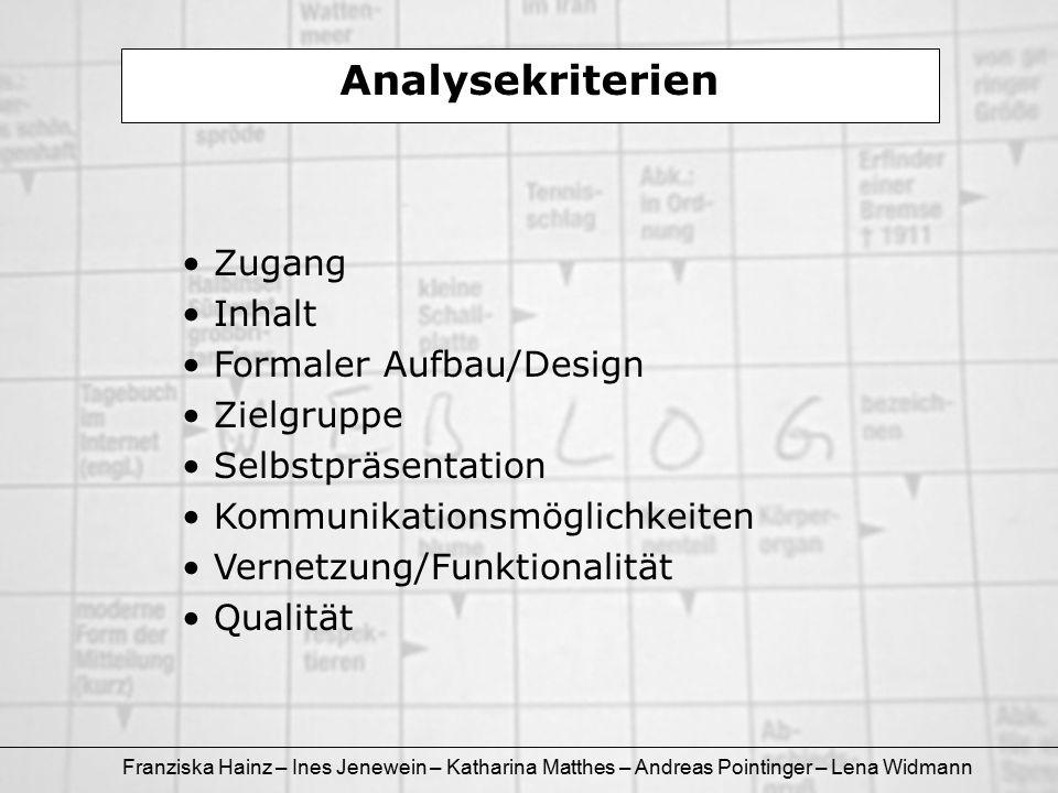 Franziska Hainz – Ines Jenewein – Katharina Matthes – Andreas Pointinger – Lena Widmann Formaler Aufbau/Design: edublog