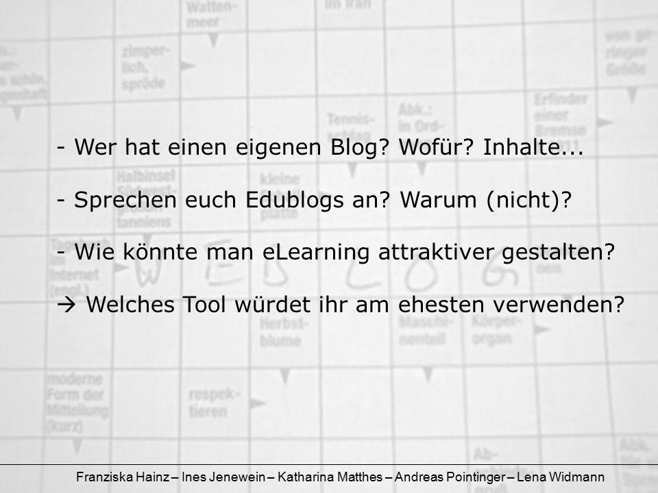 Franziska Hainz – Ines Jenewein – Katharina Matthes – Andreas Pointinger – Lena Widmann - Wer hat einen eigenen Blog? Wofür? Inhalte... - Sprechen euc