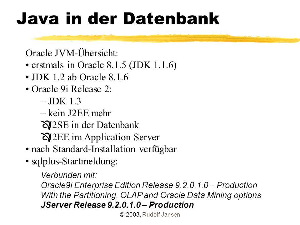 © 2003, Rudolf Jansen Resolving create or replace procedure start_helloworld_resolver as language java name HelloWorldResolver.test() ; Prozedur wurde angelegt.