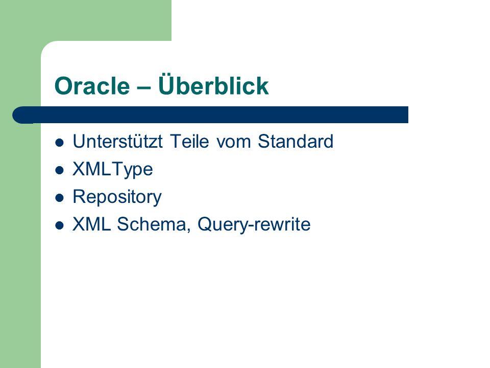 Oracle – Überblick Unterstützt Teile vom Standard XMLType Repository XML Schema, Query-rewrite