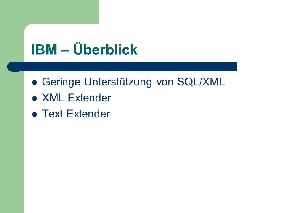 IBM – Überblick Geringe Unterstützung von SQL/XML XML Extender Text Extender