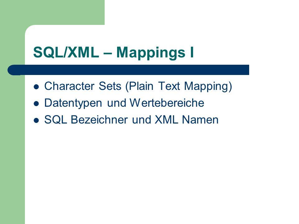SQL/XML – Mappings I Character Sets (Plain Text Mapping) Datentypen und Wertebereiche SQL Bezeichner und XML Namen