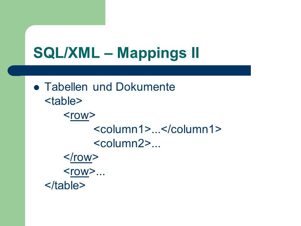 SQL/XML – Mappings II Tabellen und Dokumente.........