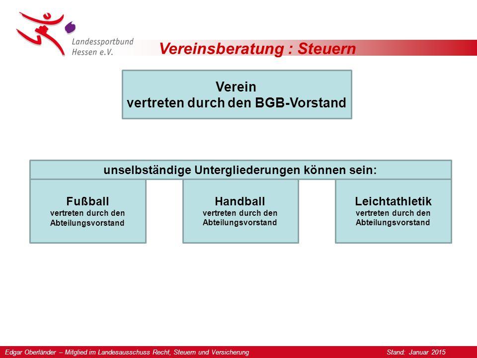 Vereinsberatung : Steuern Grundlagen Die Vereinssatzung gilt ohne Ausnahmen für alle Abteilungen.