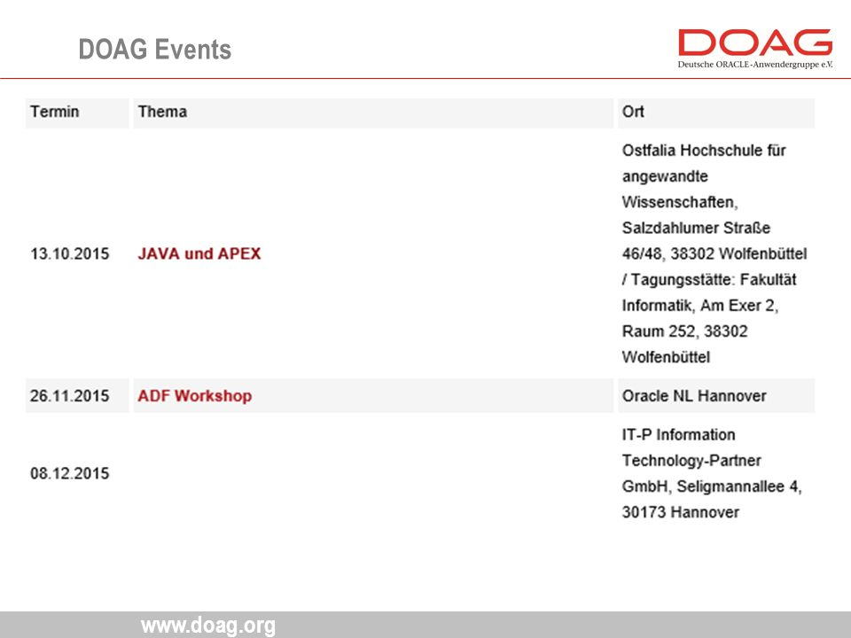 www.doag.org DOAG Events