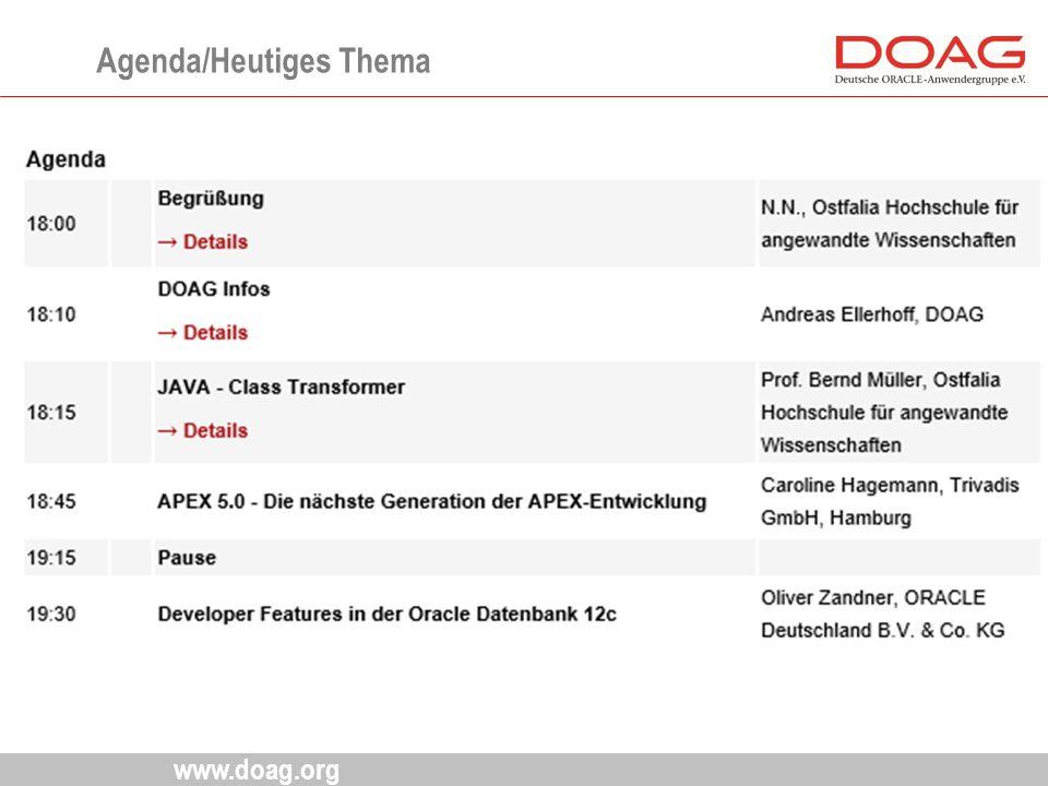 www.doag.org Agenda/Heutiges Thema
